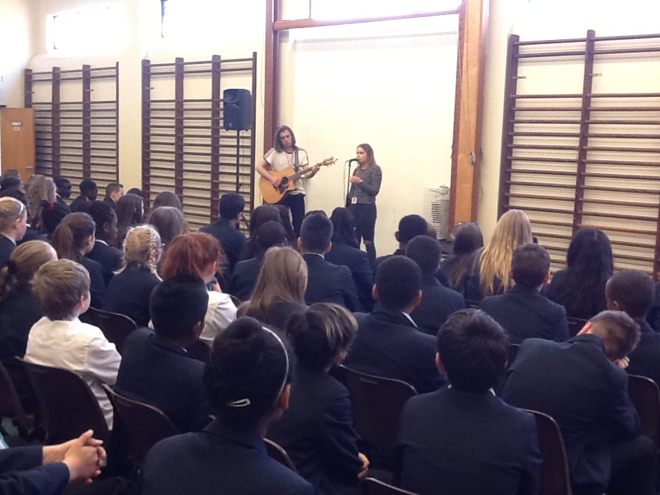 Up and coming singer Georgia Burgess visits the Year 7's and 8's