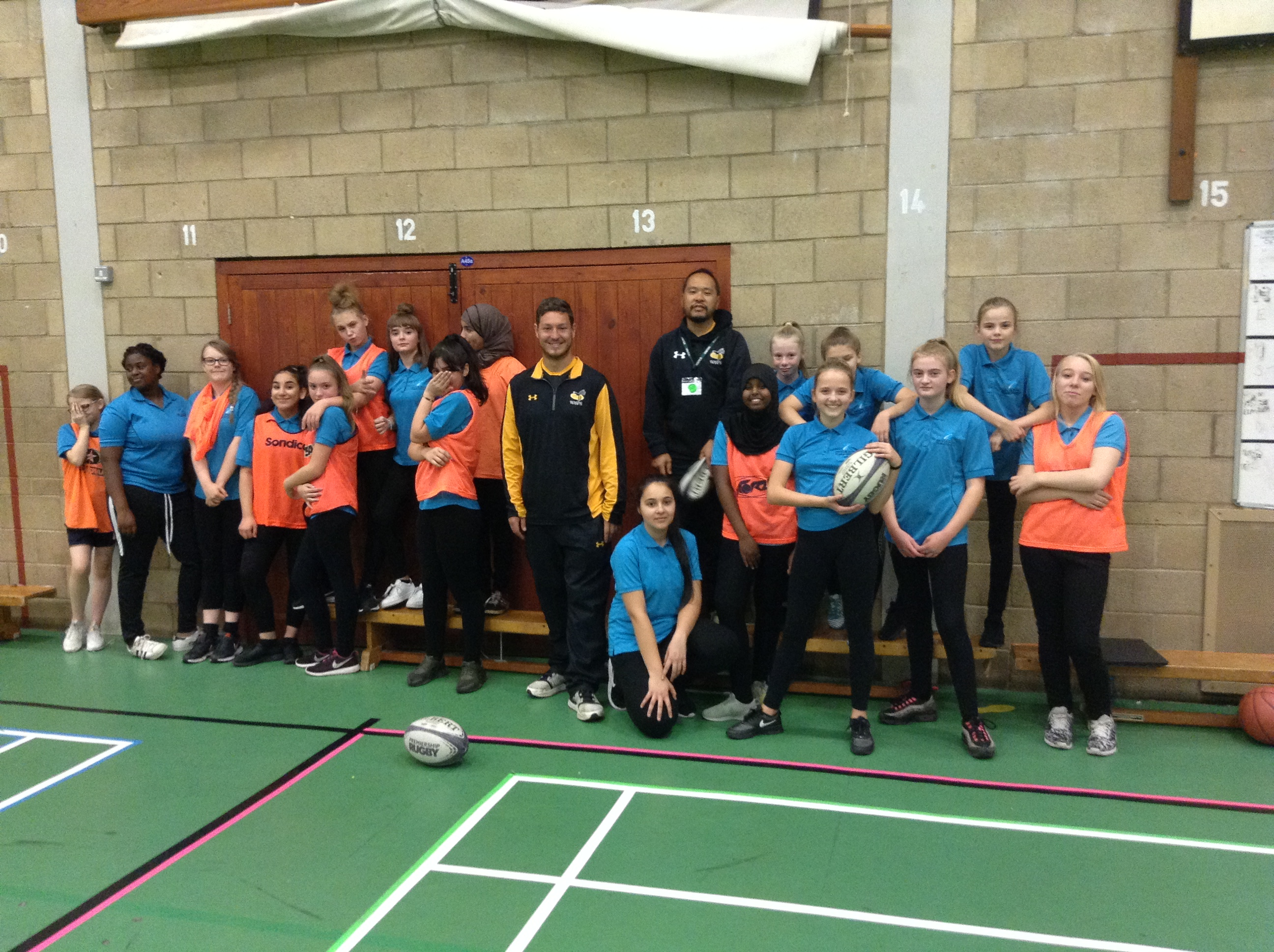 Year 8 girls lesson with Wasps Rugby Coaches