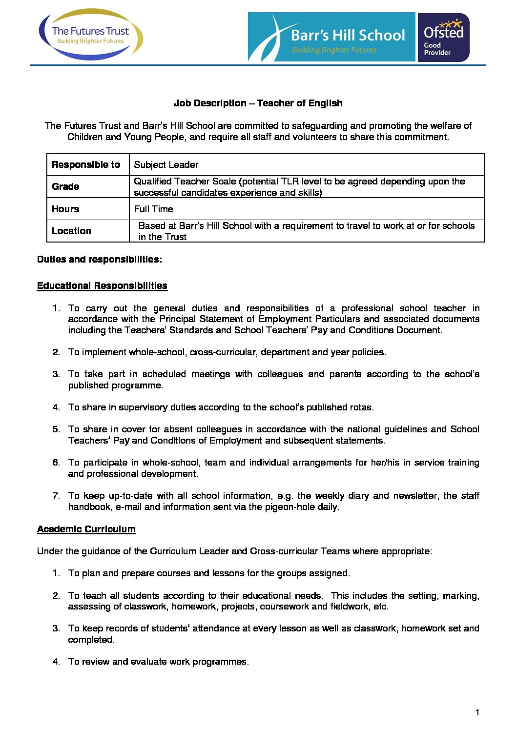 BH Job Description English Teacher - Barr's Hill School