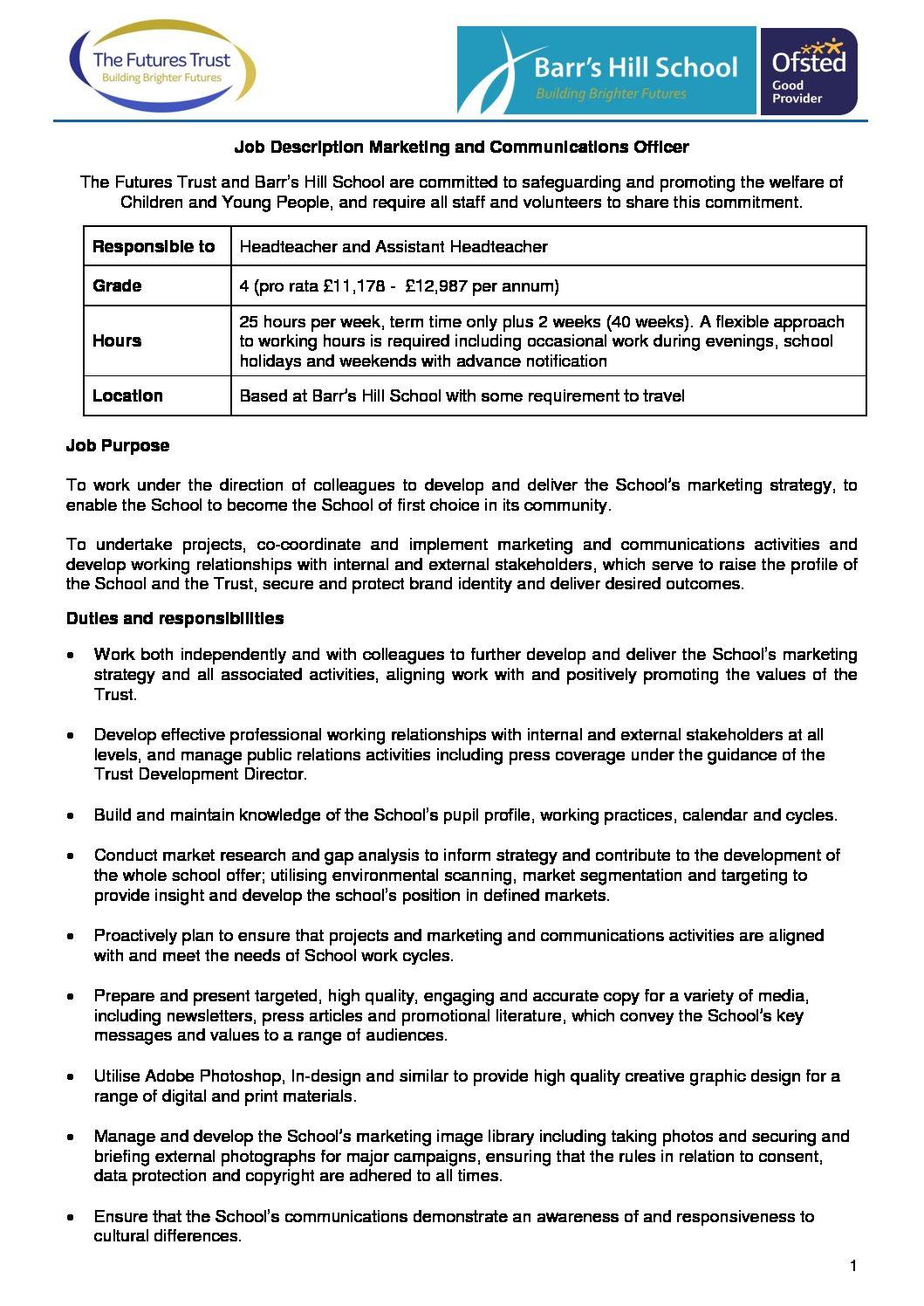 Job Description Marketing and Communications Officer - Barr's Hill School